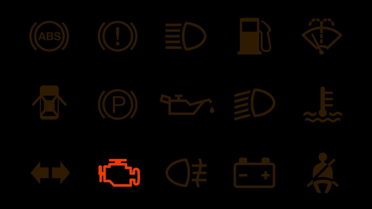 leuchtende Motorkontrollleuchte
